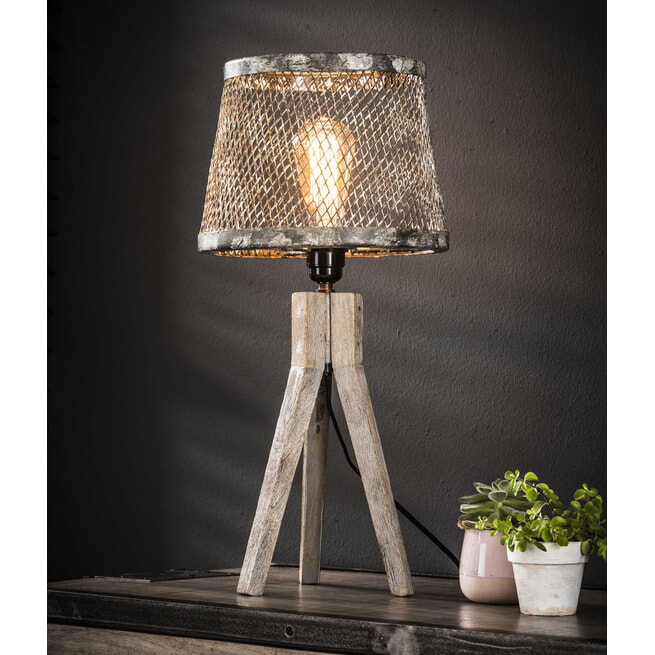 Tafellamp 'Til' gaas met houten driepoot