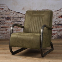 Tower Living fauteuil 'Barn' Leder, kleur Danza Olive