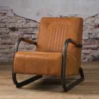 Tower Living fauteuil 'Barn' Leder, kleur Danza Rust