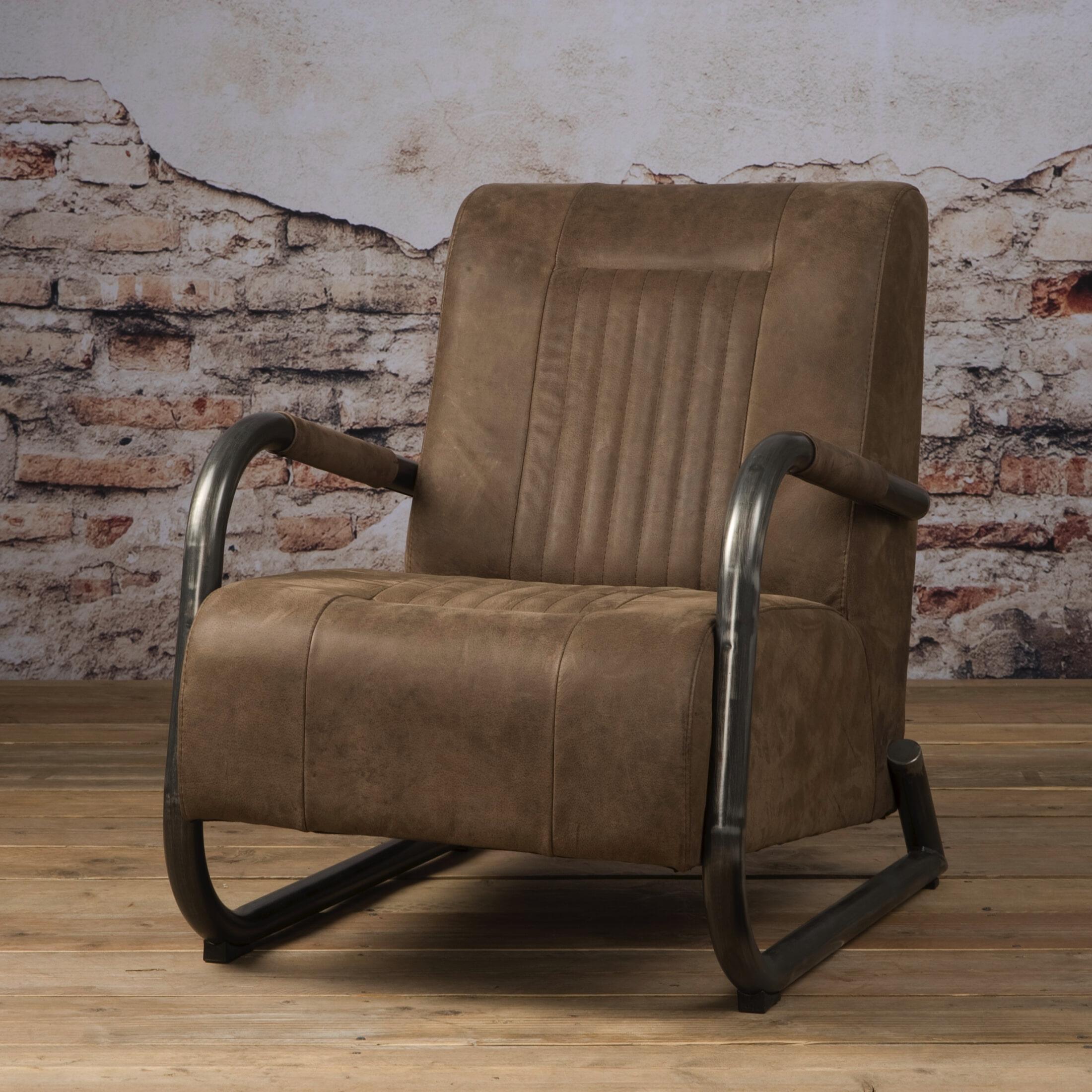 Tower Living fauteuil 'Barn' Leder, kleur Danza Taupe