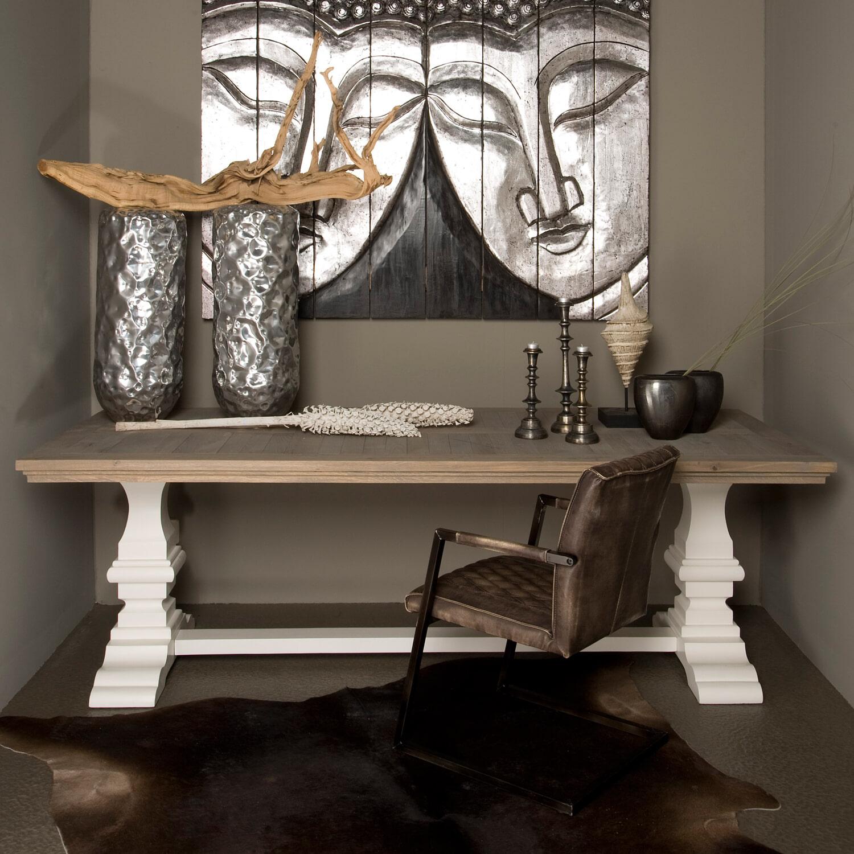 Tower Living Kloostertafel 'Toscana' 240 x 100cm, kleur wit