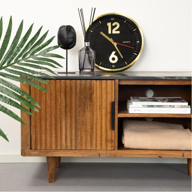 Eleonora TV-meubel 'Carter' Mangohout en marmer, 180cm