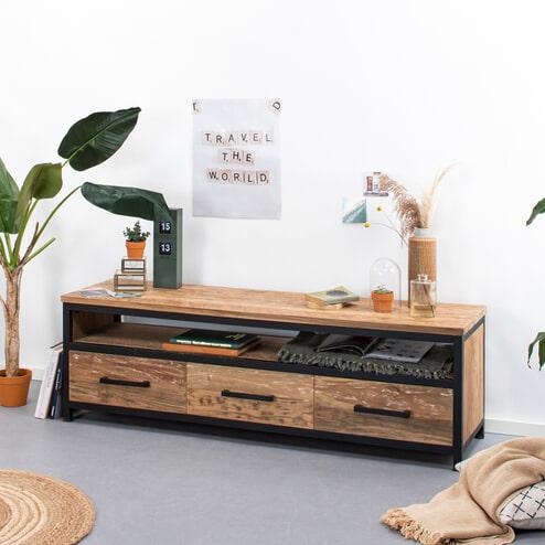 SoHome Industrieel TV-meubel 'Washington' Teak en Staal, 160cm