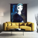 Urban Cotton Wandkleed 'Lady in Blue', 190 x 145cm