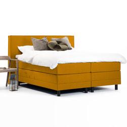 Sohome Boxspring 'Suzan'-Mosterdgeel-140 x 200 cm-Elektrisch verstelbaar