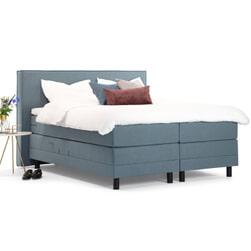 Sohome Boxspring 'Suzan'-Grijs-blauw-160 x 200 cm-Elektrisch verstelbaar