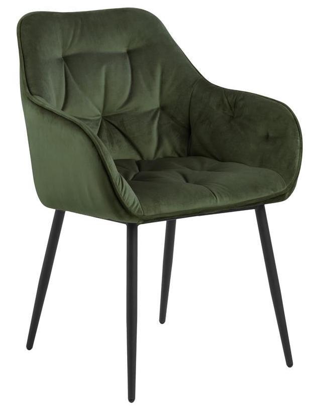 Bendt Eetkamerstoel 'Loren' Velvet, kleur Forest Green