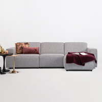 Sohome Loungebank 'Oscar' Rechts, Kleur Zinc