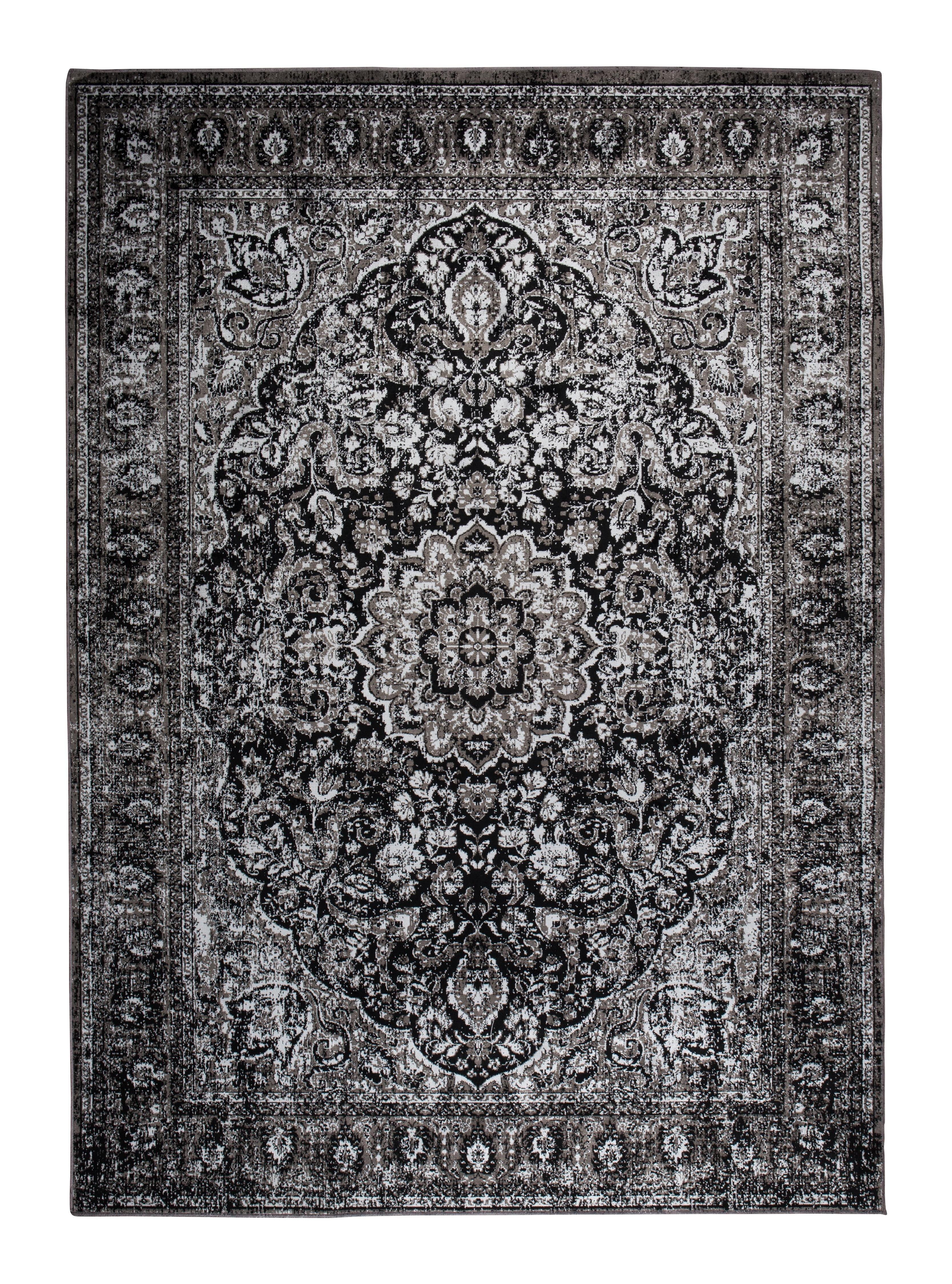Vloerkleed 'Elian' 160 x 230cm, kleur Zwart 85% viscose, 15% polyester aanschaffen? Kijk hier!
