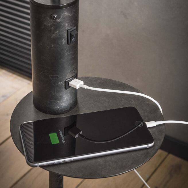 Vloerlamp 'Ashton' met USB oplaadpunt