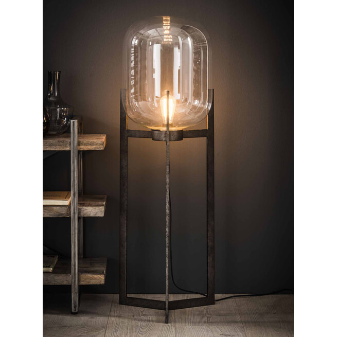 Vloerlamp 'Jacki' met glazen kap en industriële driepoot