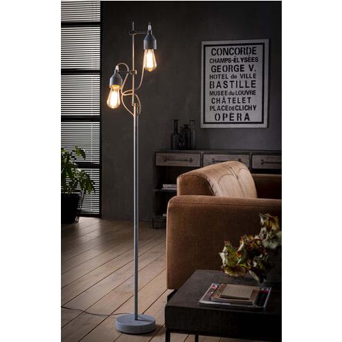 Vloerlamp 'Lionnel' 2-lamps grijs metaal, 150cm