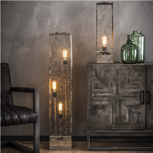 Vloerlamp 'Rainn' 3-lamps gaas met houten voet, 110cm