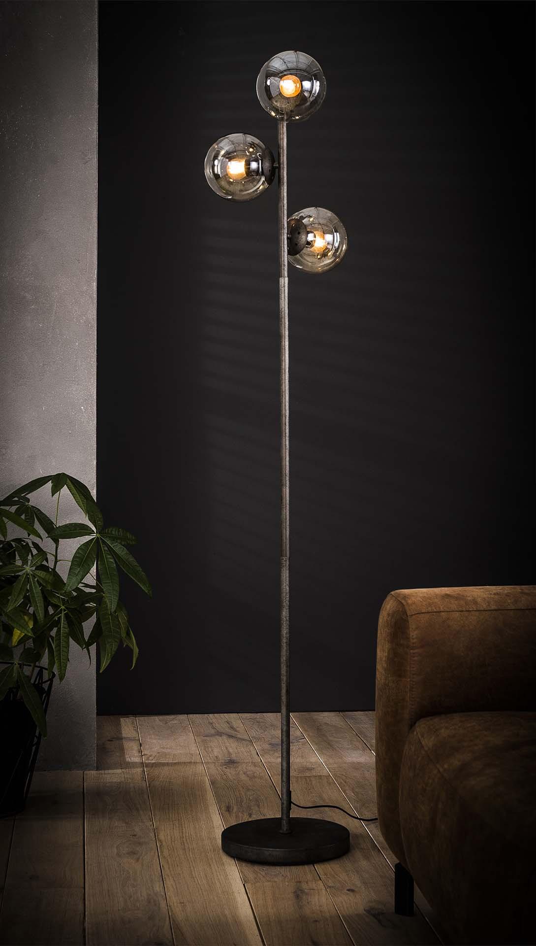 Vloerlamp 'Taraji' met 3 glazen bollen