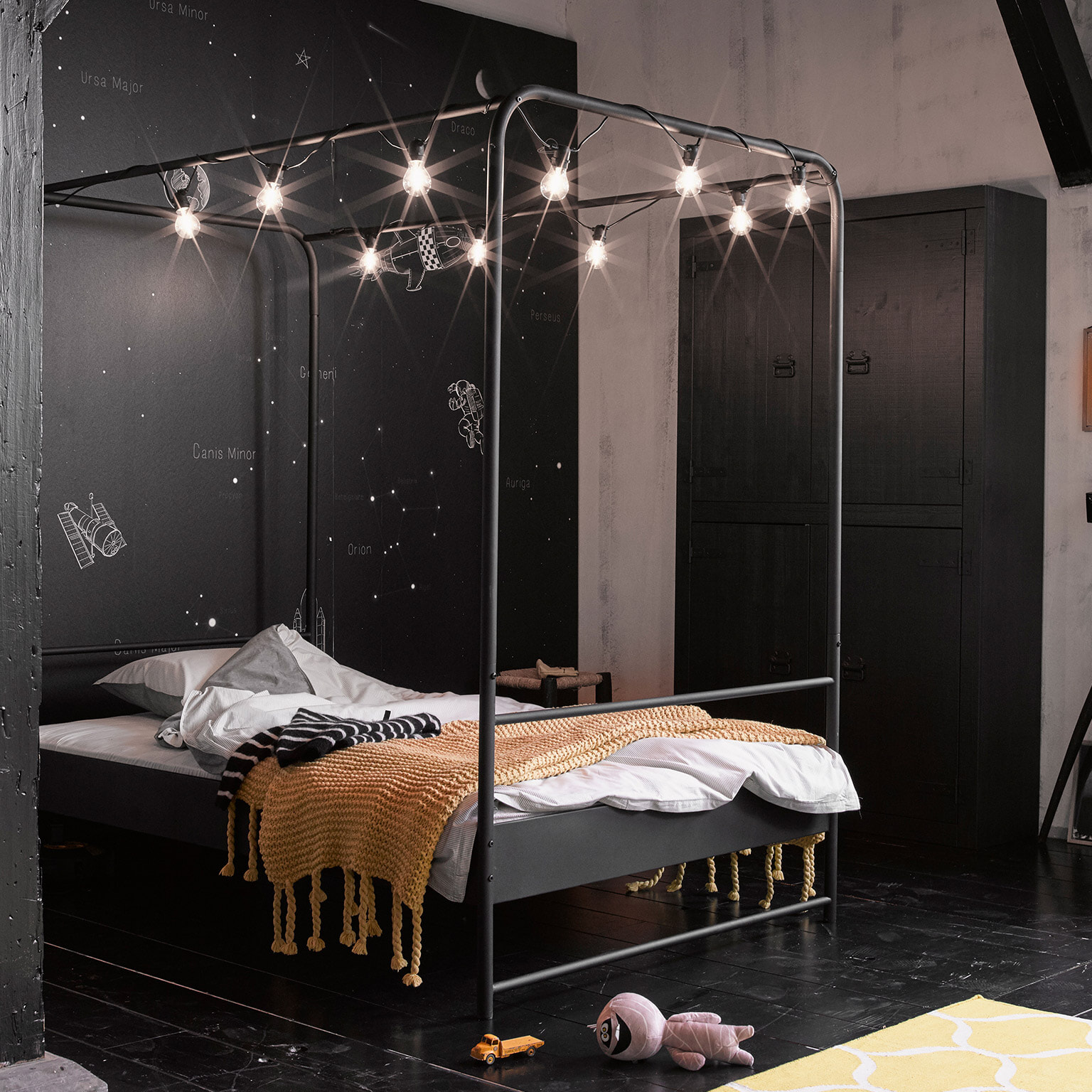 vtwonen Hemelbed 'Bunk' 120 x 200cm, kleur Zwart