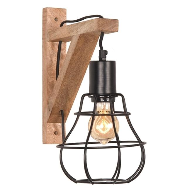 LABEL51 Wandlamp 'Drop', Mangohout, kleur Zwart