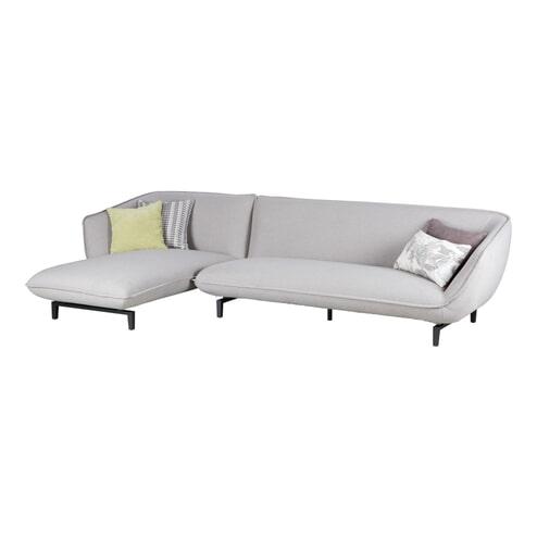 WOOOD 3-zitsbank 'Bow' met lounge, kleur lichtgrijs