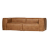 Woood Bank 'Bean' 3,5-zits, Eco leder, kleur Cognac