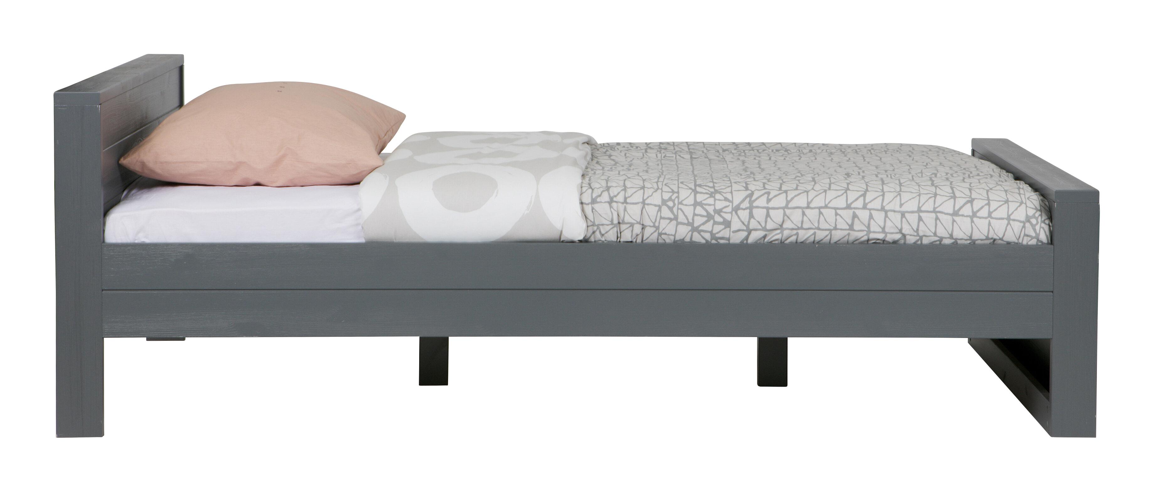 WOOOD Bed Dennis 120 x 200cm, kleur Steel grey