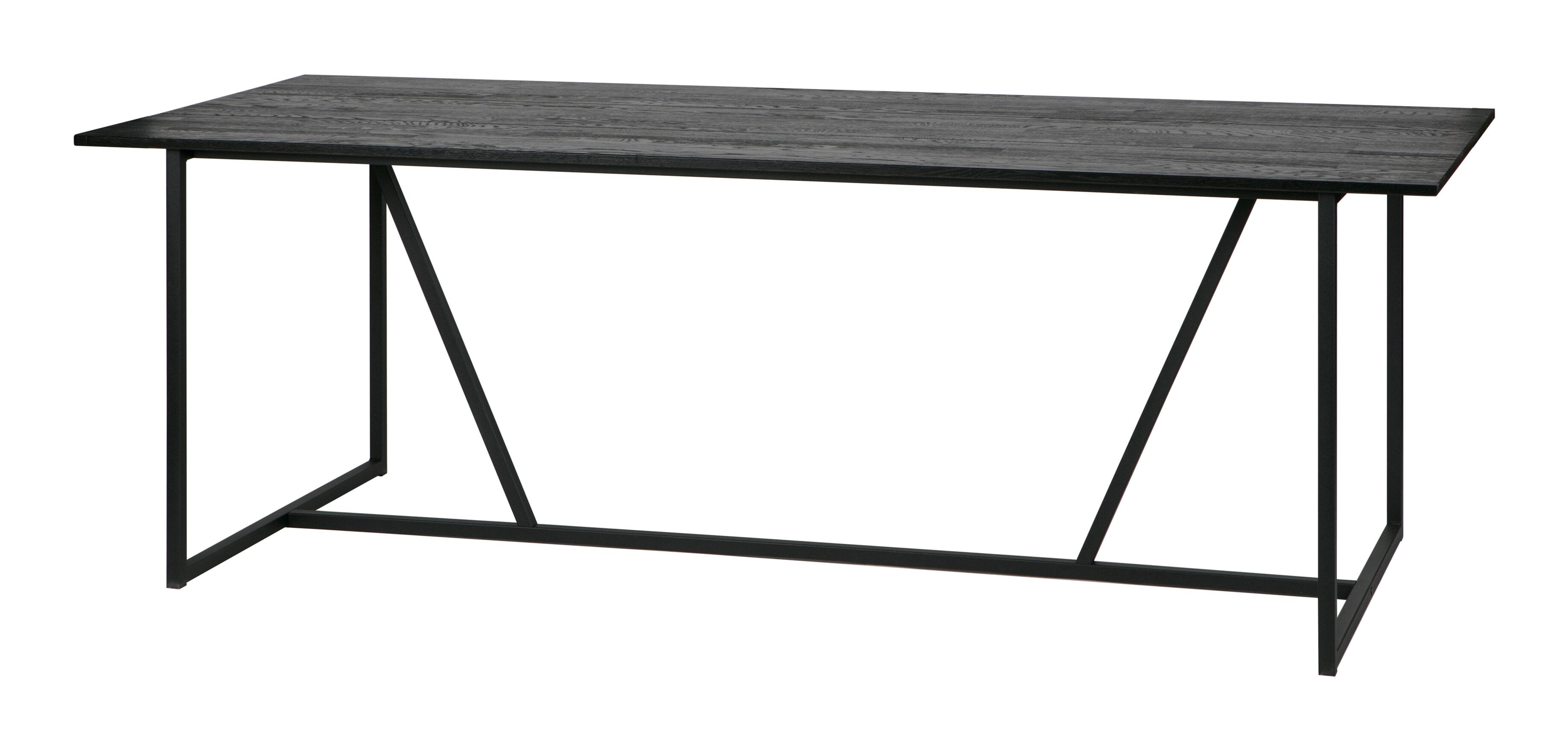 WOOOD Eettafel 'Silas' Eiken 220 x 90cm, kleur Blacknight