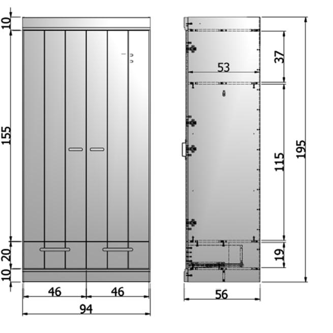 WOOOD Kledingkast 'Connect' 2 deuren en 2 laden