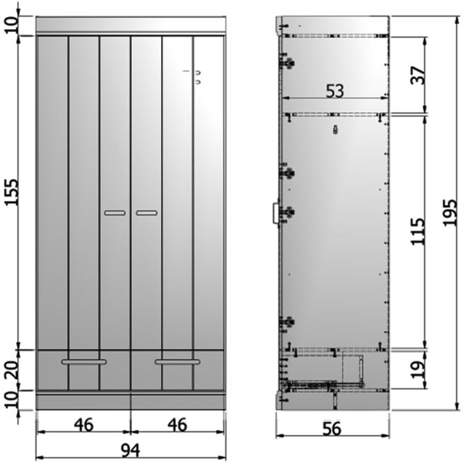 WOOOD Kledingkast 'Connect' 2 deuren en 2 laden, kleur betongrijs