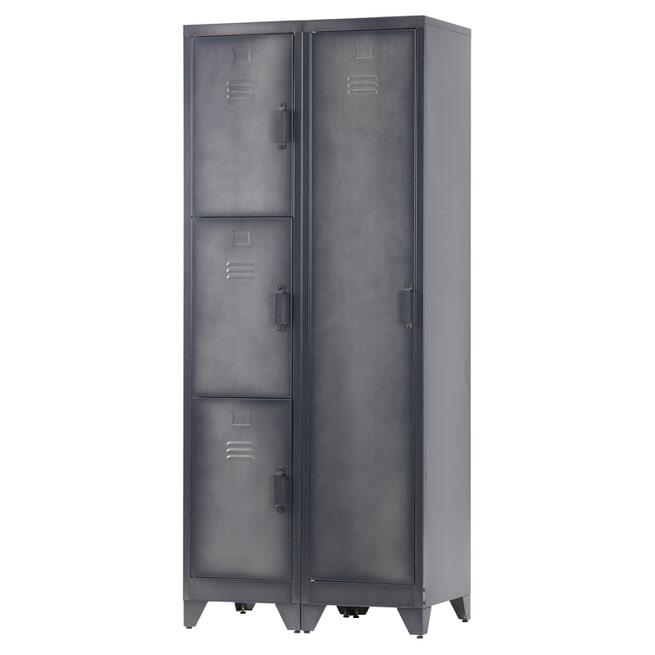 WOOOD Locker 'Cas' metaal met 3 deuren, kleur zwart