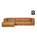 WOOOD loungebank 'Bean', leder cognac