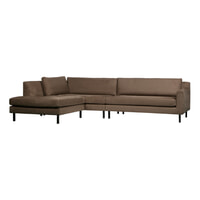 WOOOD Loungebank 'Nate' Links, kleur Taupe