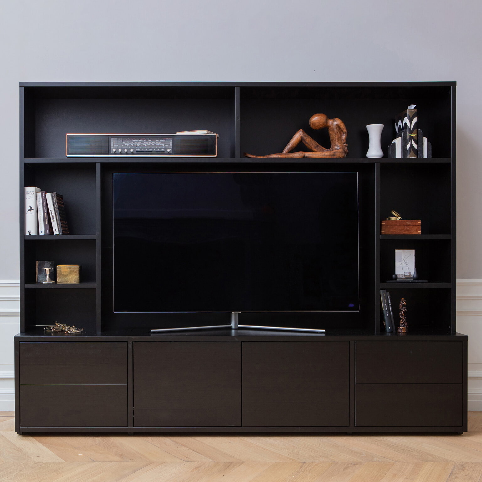 Vitrinekast Tv Meubel.Woood Tv Kast Maxel Kleur Zwart Woood Exclusive 373829 Z