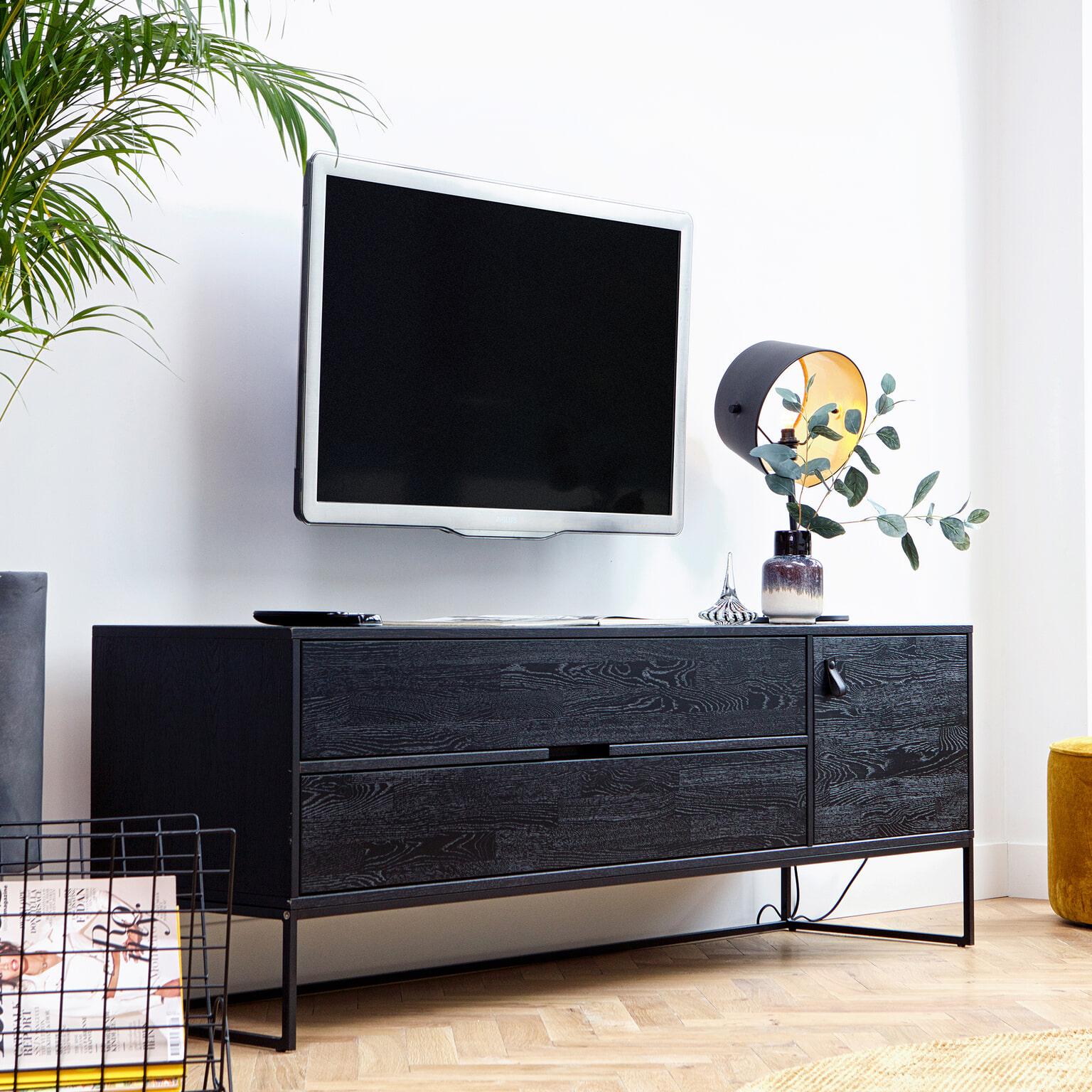 Tv Meubel Design Eiken.Woood Tv Meubel Silas Eiken 180cm Kleur Geborsteld Blacknight