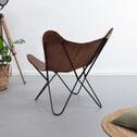 Vlinderstoel 'Danny' vintage leder, kleur bruin