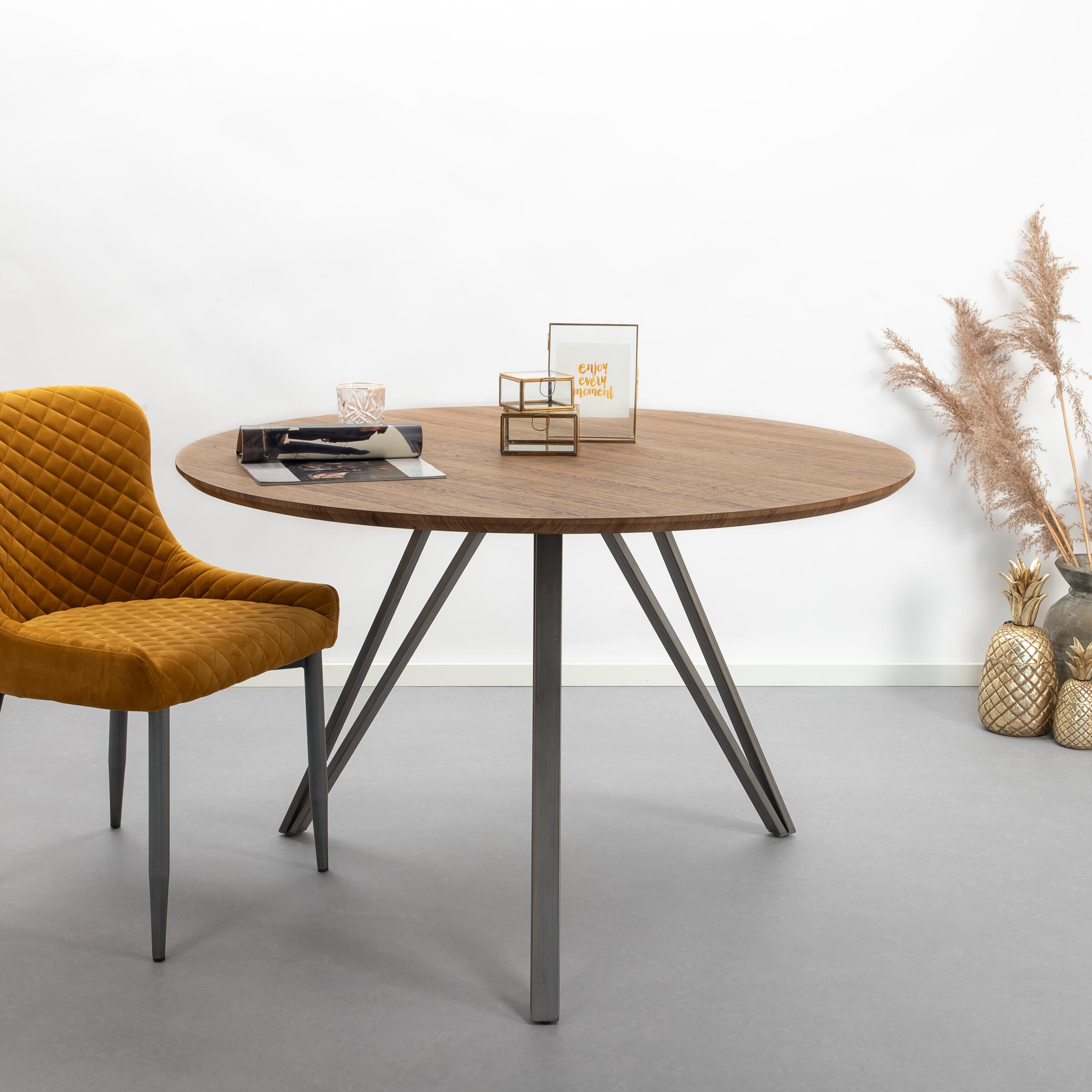 Industri?le Ronde Eettafel 'Judy' 120cm, 3D-eikenlook brownwash Tafels   Eettafels vergelijken doe je het voordeligst hier bij Meubelpartner