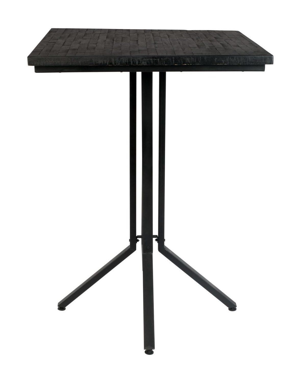 ZILT Bartafel 'Dinelson', Kleur zwart 75 x 75cm hoogte 110cm teak staal aanschaffen? Kijk hier!