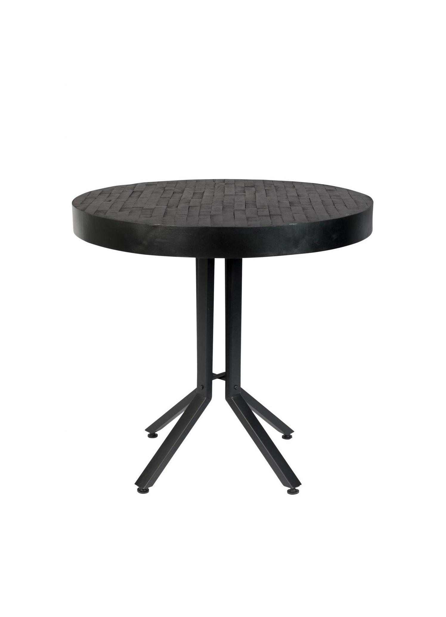 ZILT Industriële Ronde Eettafel 'Enjer', 75cm kleur zwart teak staal aanschaffen? Kijk hier!