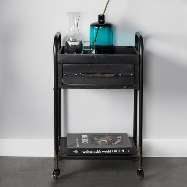 ZILT Industriële Trolley 'Wladimir' vintage metaal, kleur zwart