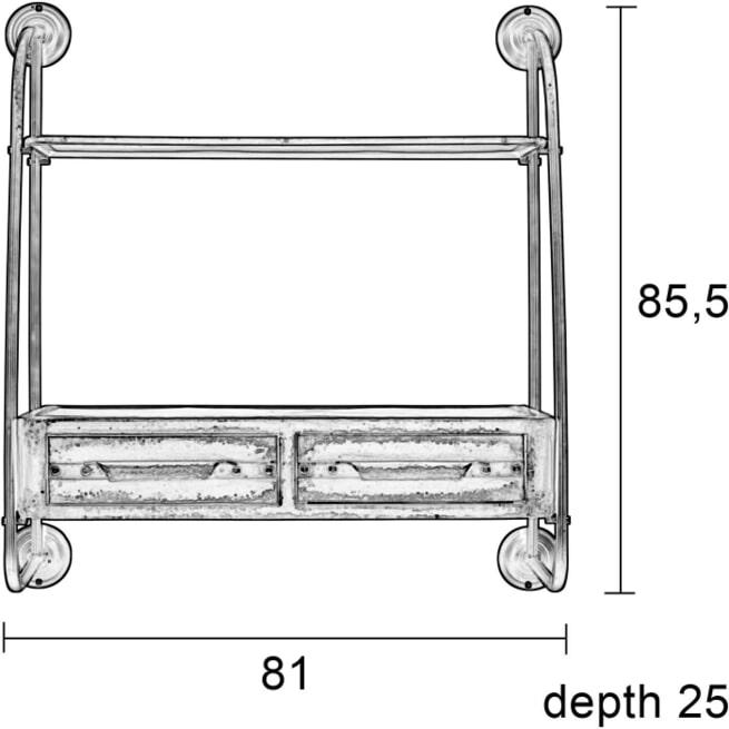 ZILT Industriële Wandplank 'Micah' vintage metaal 81cm